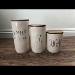 Rae Dunn Canister Set Wood Lid Coffee Tea Sugar